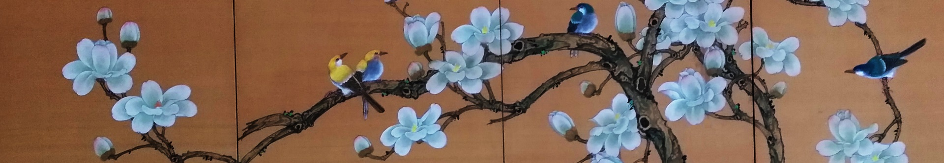 Banner - painting of blossoming branches